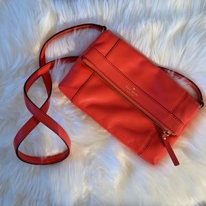 Kate Spade Coral Fold over Crossbody Purse.